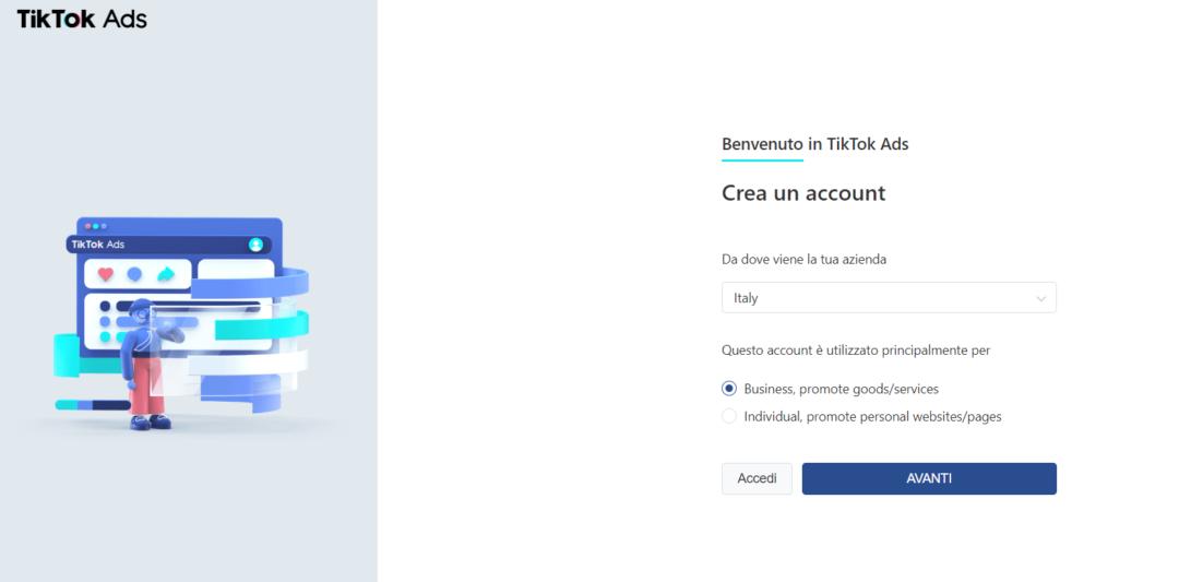 Creazione Account TikTok Ads