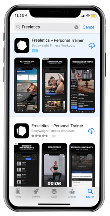 Annuncio apple freeletics