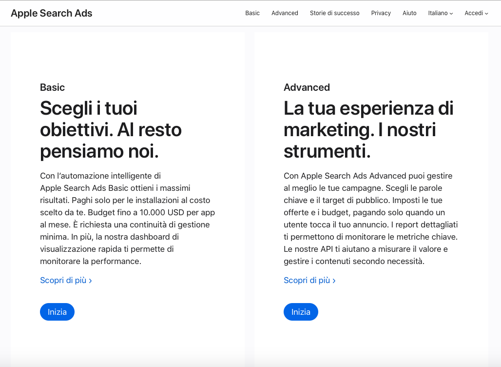 Guida Apple Search Ads - basic vs advanced
